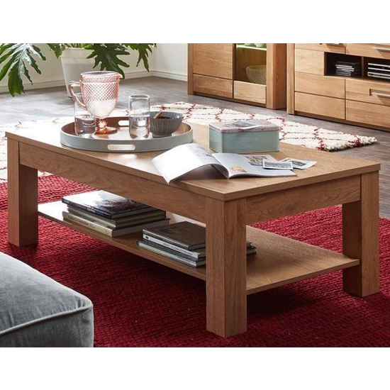 Sena Wooden Coffee Table In Oak