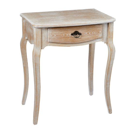 Senegal Wooden Lamp Table In Weathered Oak