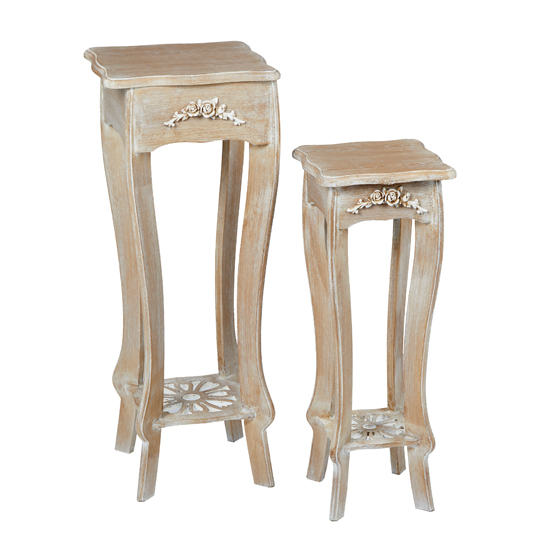 Senegal Wooden Set Of 2 Side Table In Weathered Oak