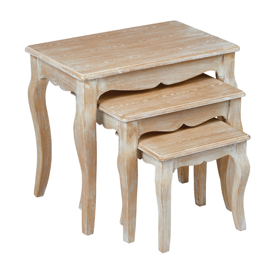 Senegal Wooden Set Of 3 Nesting Tables In Weathered Oak
