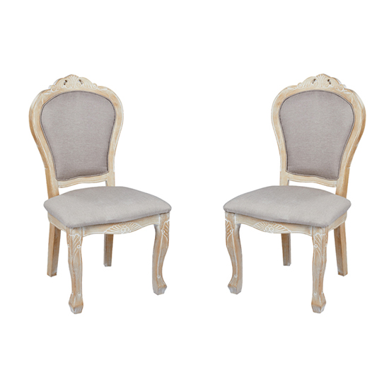 Senegal Weathered Oak Padded Dining Chairs In Pair