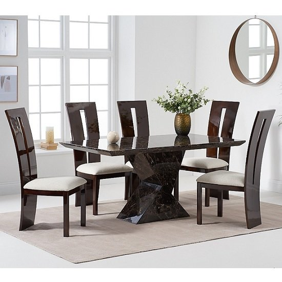 Senna Marble Dining Table In Brown And High Gloss With 6 Chairs