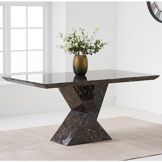Senna Marble Dining Table Rectangular In Brown And High Gloss