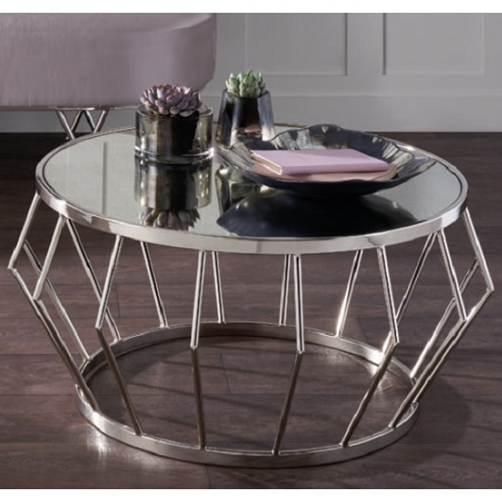 Sennett Mirrored Coffee Table In Two Tone And Nickel Finish
