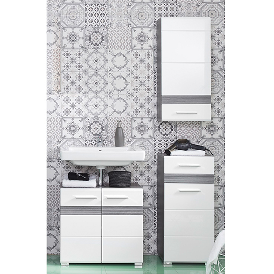 Seon Bathroom Funiture Set 13 In Gloss White And Smoky Silver