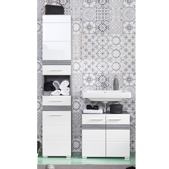 Seon Bathroom Funiture Set 15 In Gloss White And Smoky Silver