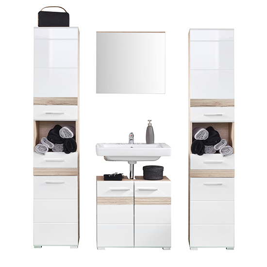 Seon Bathroom Funiture Set 17 In Gloss White Light Oak