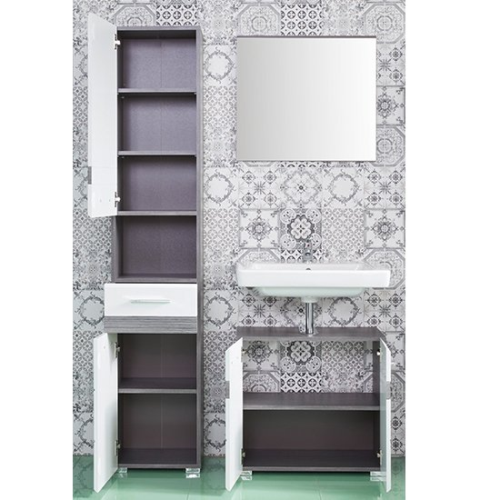 Seon Bathroom Funiture Set 2 In Gloss White And Smoky Silver_2