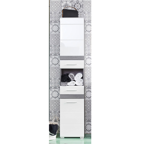 Seon Bathroom Funiture Set 2 In Gloss White And Smoky Silver_3