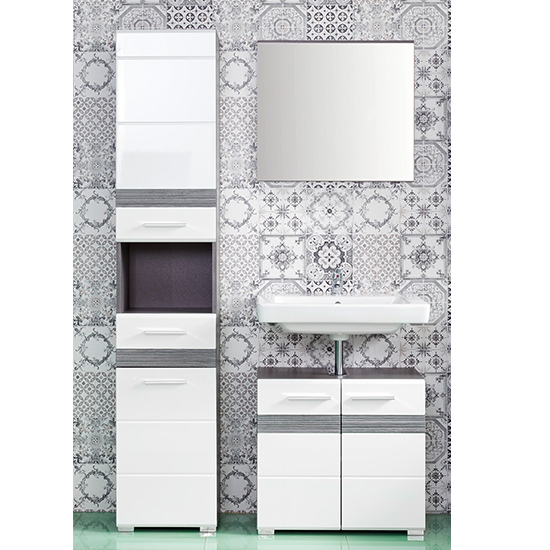 Seon Bathroom Funiture Set 2 In Gloss White And Smoky Silver_1