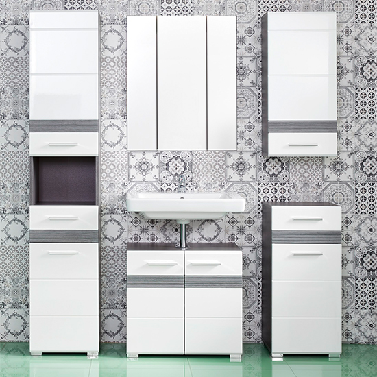 Seon Bathroom Funiture Set 20 In Gloss White Smoky Silver