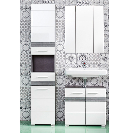Seon Bathroom Funiture Set 22 In Gloss White Smoky Silver