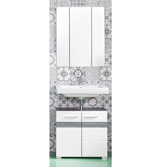Seon Bathroom Funiture Set 24 In Gloss White Smoky Silver