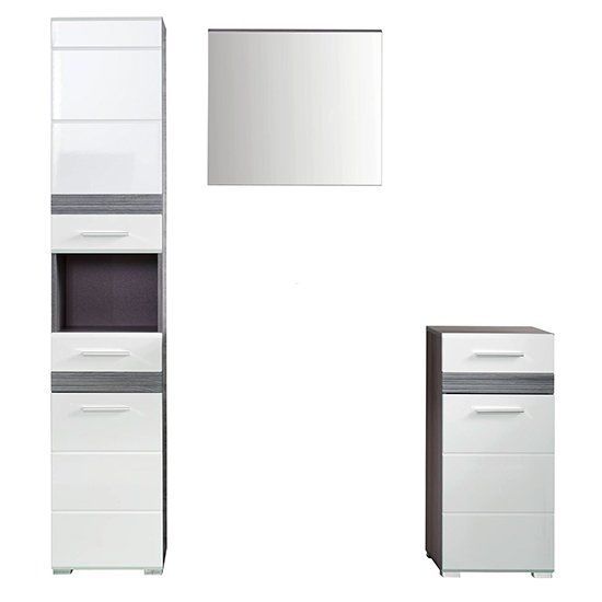Seon Bathroom Funiture Set 8 In Gloss White And Smoky Silver