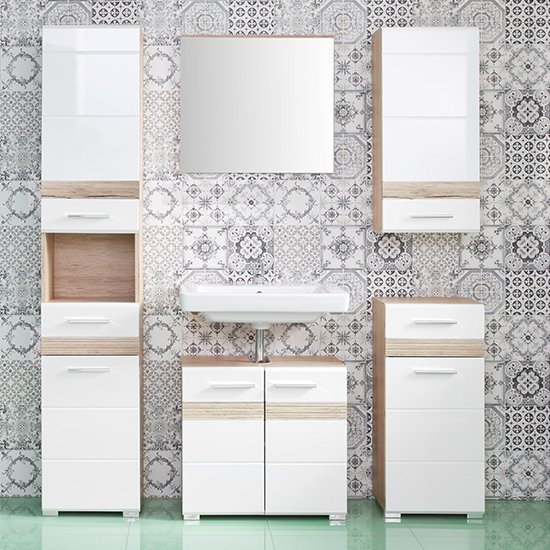 Seon Bathroom Funiture Set In Gloss White And Smoky Silver