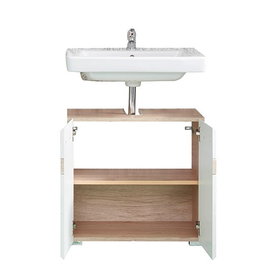 Seon Bathroom Sink Vanity Unit In Gloss White And Smoky Silver_2