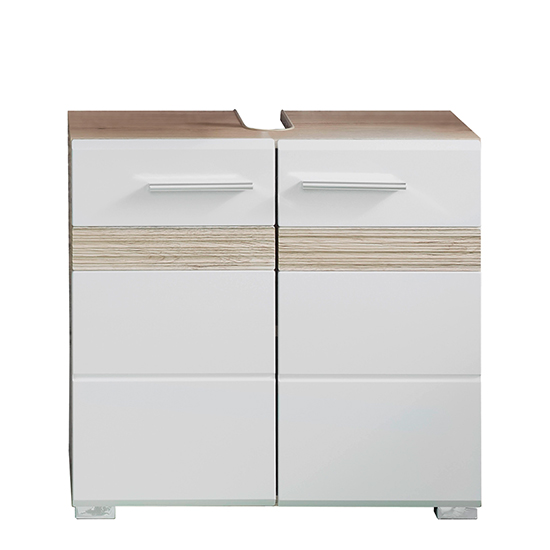 Seon Bathroom Sink Vanity Unit In Gloss White And Smoky Silver_3