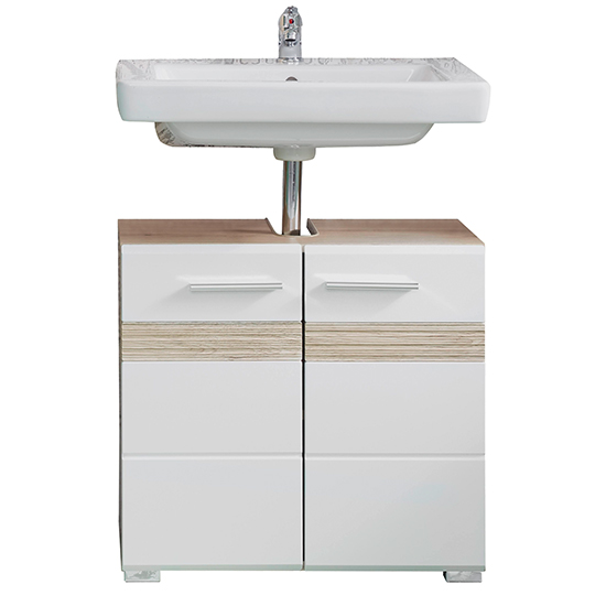 Seon Bathroom Sink Vanity Unit In Gloss White And Smoky Silver_1