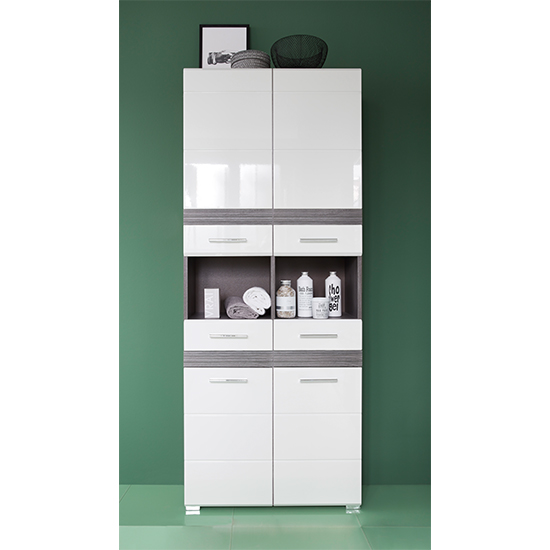 Seon Large Bathroom Storage Cabinet In Gloss White Smoky Silver
