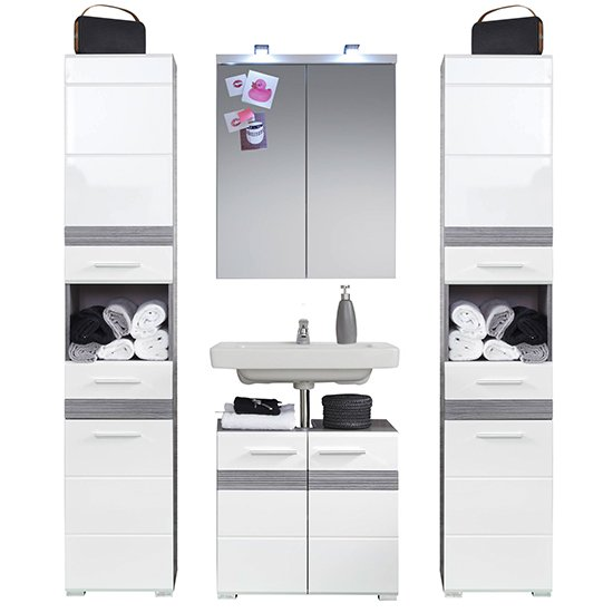 Seon LED Bathroom Funiture Set 16 In Gloss White Smoky Silver