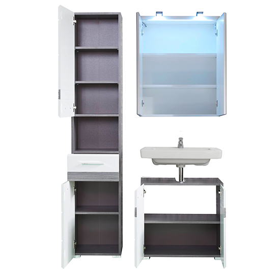 Seon LED Bathroom Funiture Set 6 In Gloss White And Smoky Silver_2