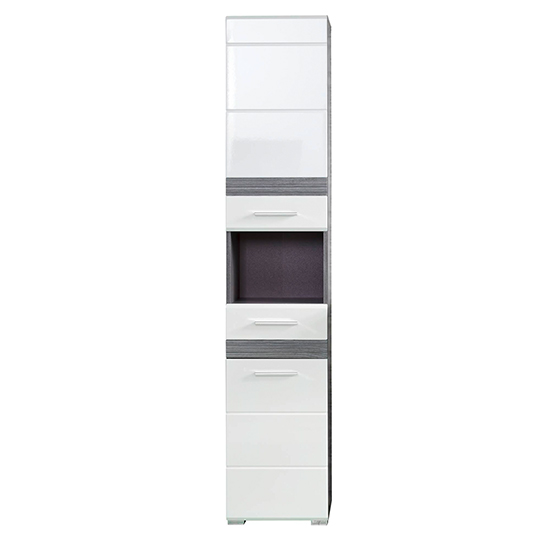 Seon LED Bathroom Funiture Set 6 In Gloss White And Smoky Silver_3