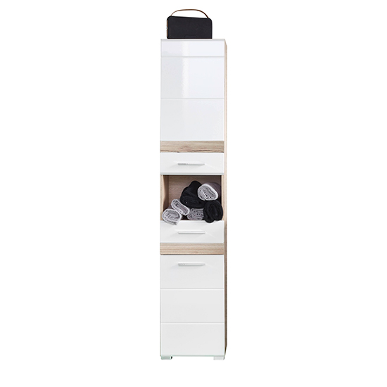 Seon Tall Bathroom Storage Cabinet In Gloss White Light Oak
