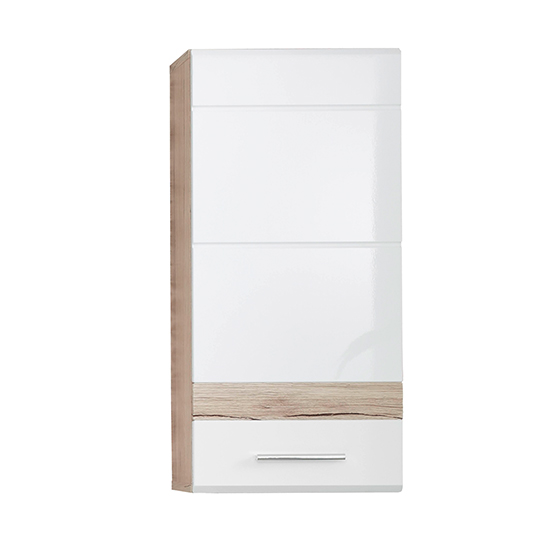 Seon Wall Bathroom Storage Cabinet In Gloss White Light Oak