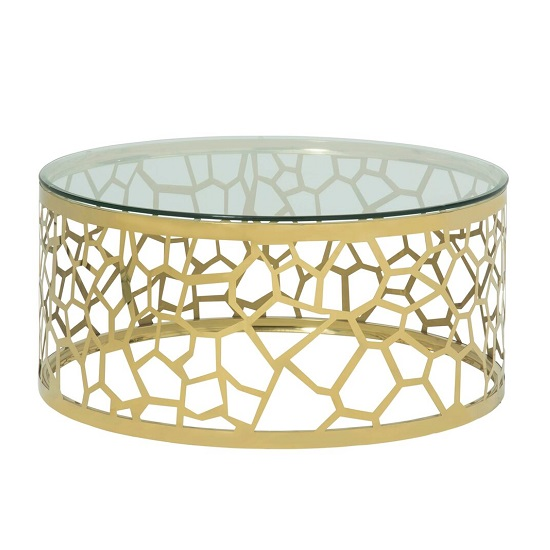 Seoul Glass Coffee Table In Clear With Gold Finish Frame
