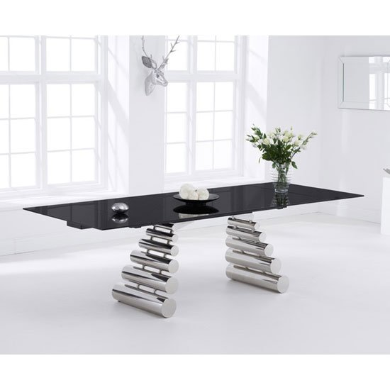 Sepia Extending Dining Table In Black Glass And Stainless Steel