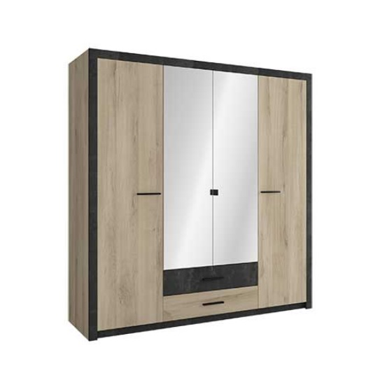 Sequoia Mirrored Wardrobe In Kronberg Oak And Sidewalk