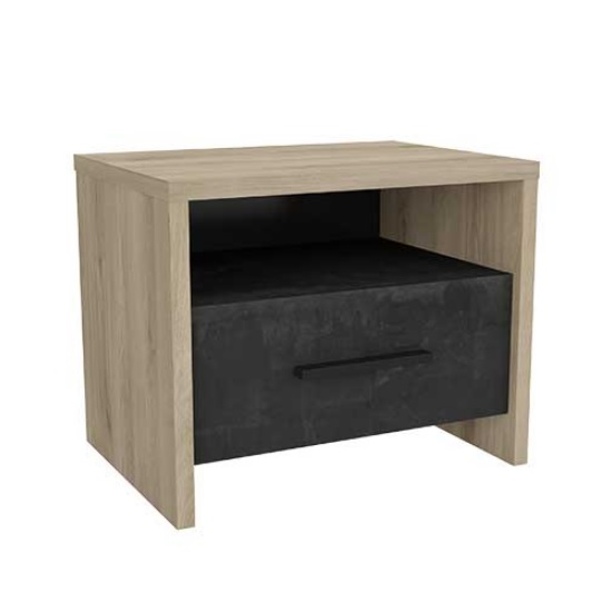 Sequoia Wooden Bedside Cabinet In Kronberg Oak And Sidewalk