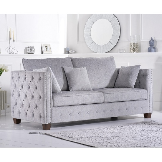 Serafina Fabric 3 Seater Sofa In Grey Plush With Wooden Feet