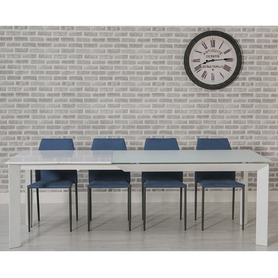 Seram Extendable Glass Dining Table In White With 6 Blue Chairs