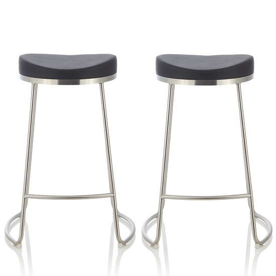 Seraphina Bar Stool In Black Faux Leather In A Pair