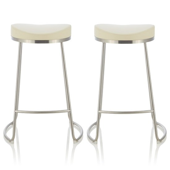 Seraphina Bar Stool In Cream Faux Leather In A Pair