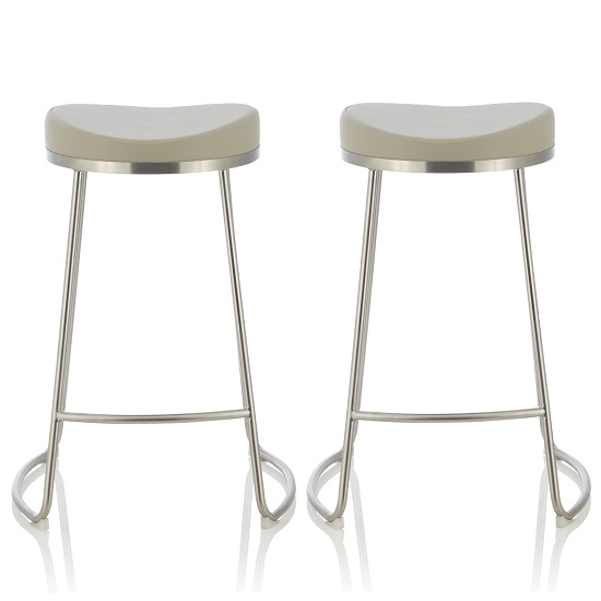 Product photograph showing Seraphina Bar Stool In Grey Faux Leather In A Pair