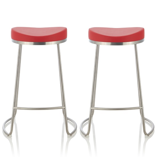 Seraphina Bar Stool In Red Faux Leather In A Pair