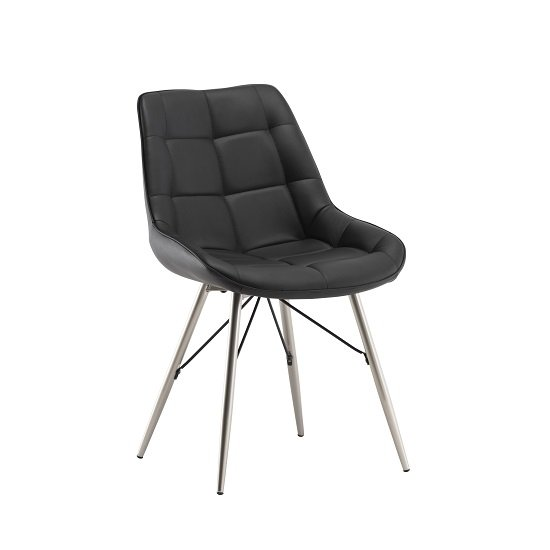 Serbia Dining Chair In Black Faux Leather With Chrome Legs_1