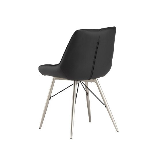 Serbia Dining Chair In Black Faux Leather With Chrome Legs_3