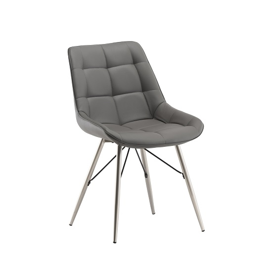 Serbia Dining Chair In Grey Faux Leather With Chrome Legs