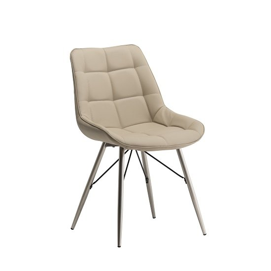 Serbia Dining Chair In Stone Faux Leather With Chrome Legs