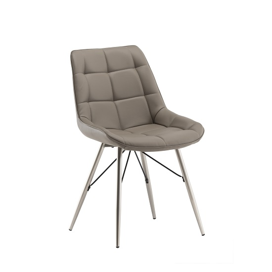 Serbia Dining Chair In Taupe Faux Leather With Chrome Legs