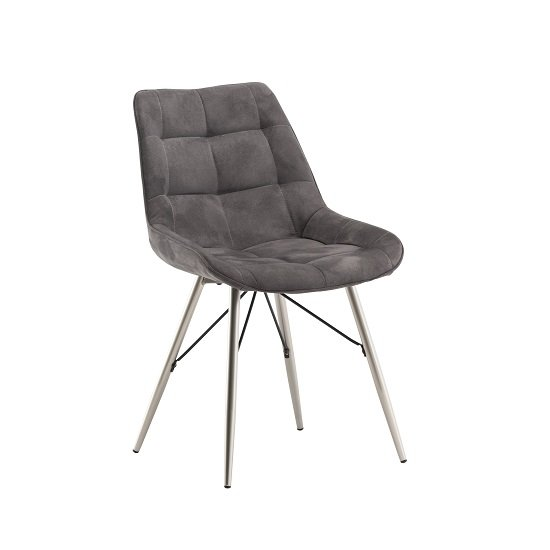 Serbia Fabric Dining Chair In Grey With Chrome Legs