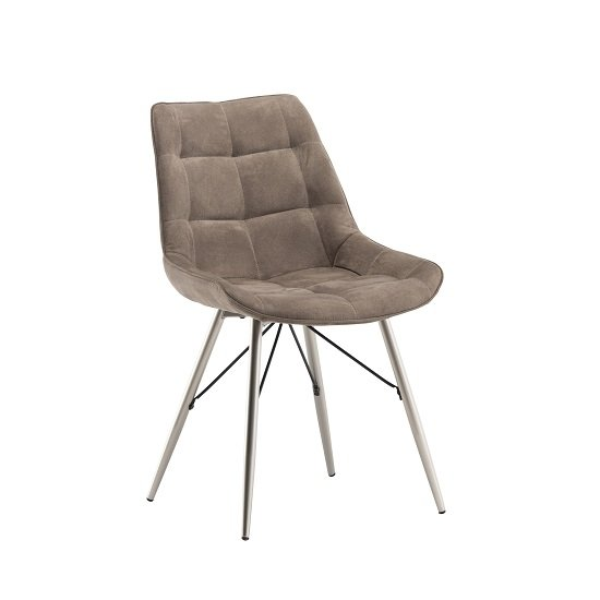 Serbia Fabric Dining Chair In Taupe With Chrome Legs
