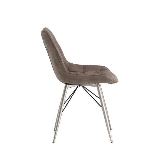 Serbia Fabric Dining Chair In Taupe With Chrome Legs_2