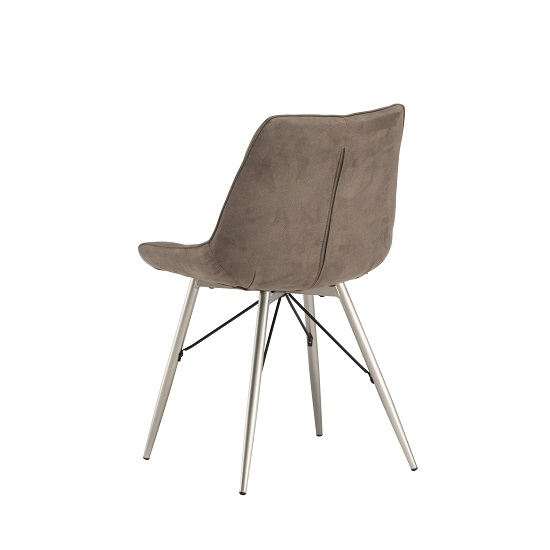 Serbia Fabric Dining Chair In Taupe With Chrome Legs_3