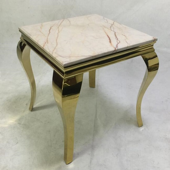 Serena Marble Coffee Table Square In White With Metal Frame