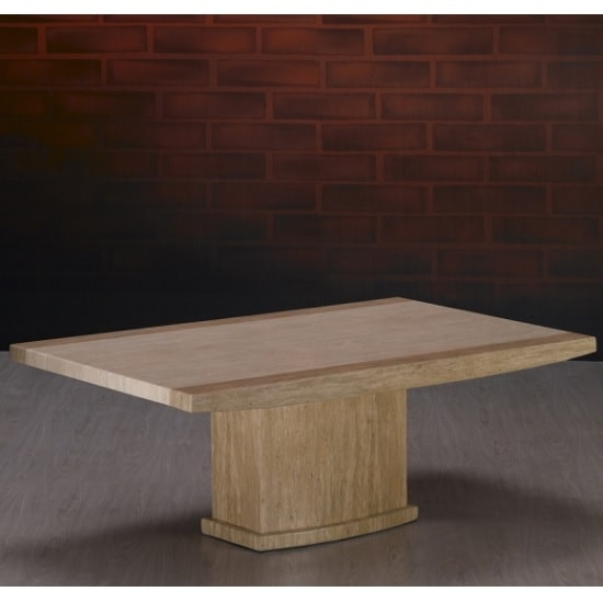 Serena Marble Coffee Table Rectangular In Cream And Travertine