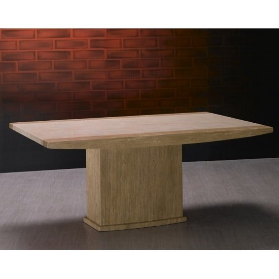 Serena Marble Dining Table Rectangular In Cream And Travertine